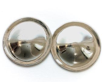 Silver Metal Disc Earrings - large silver tone circular post earrings, vintage costume earrings, 1980s earrings, stud earrings silver metal