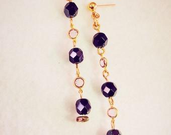 Gold Metal Dangle Earrings ON SALE - gold purple earrings, long earrings lightweight, pastel purple black gold earrings handmade