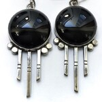 Black Onyx Raincloud Sterling Silver Earrings - large dangle earrings black stones, stone cloud, 1970s earrings, sci find earrings