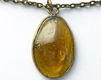 Amber Glass Pendant Necklace - bronze pendant necklaces, bronze jewelry, cyberpunk jewelry, cyberpunk necklaces