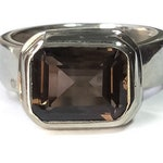 Large Smoky Topaz Ring Sterling Silver size 8  - large stone vintage rings silver, mens jewelry, vintage rectangular smoky quartz ring 8