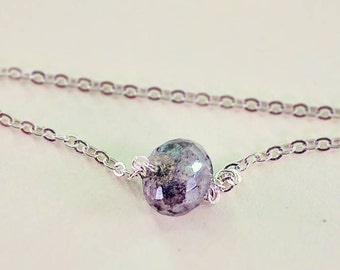 Silvertone Silverite Bracelet - minimalist chain bracelet, iridescent gem bracelet handmade, metallic stone bracelet, simple stone jewelry