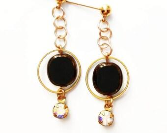 Black + Gold Drop Earrings - lightweight earrings, art deco earrings, black crystal dangle earrings, brass earrings black