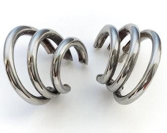 Silver Triple Moon Dangle Earrings - vintage sterling silver earrings, sterling silver wicca moon goddess jewelry, triple hoop earrings
