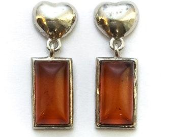 1970s Amber Heart Dangle Earrings sterling silver - vintage 70s jewelry, maximalist jewelry, heart jewelry, rectangular stone earrings