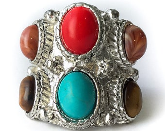1970s Faux Multistone Ring size 5 - vintage southwestern costume jewelry, vintage 70s jewelry, faux turquoise coral ring 5, huge rings