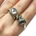 Sterling Baphomet Ring size 9 - sterling silver ram's head rings 9, occult rings size 9, occult jewelry, satanic panic
