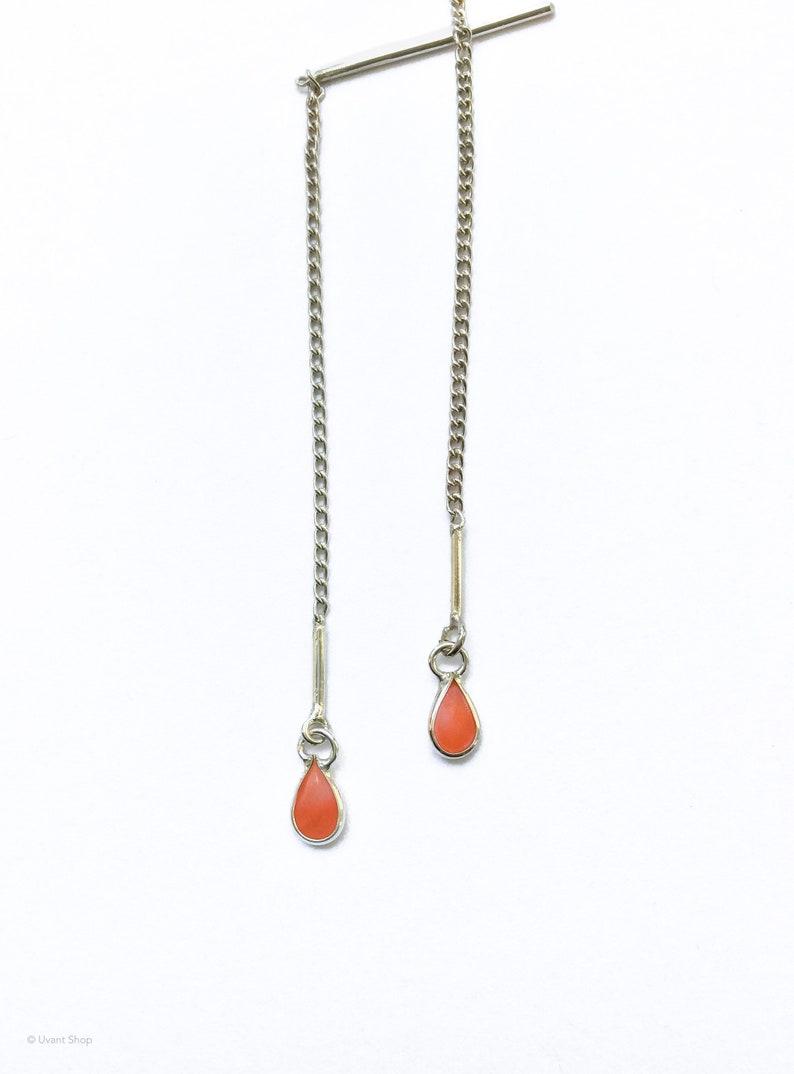 Sterling Silver Coral Threader Earrings  lightweight threader image 0