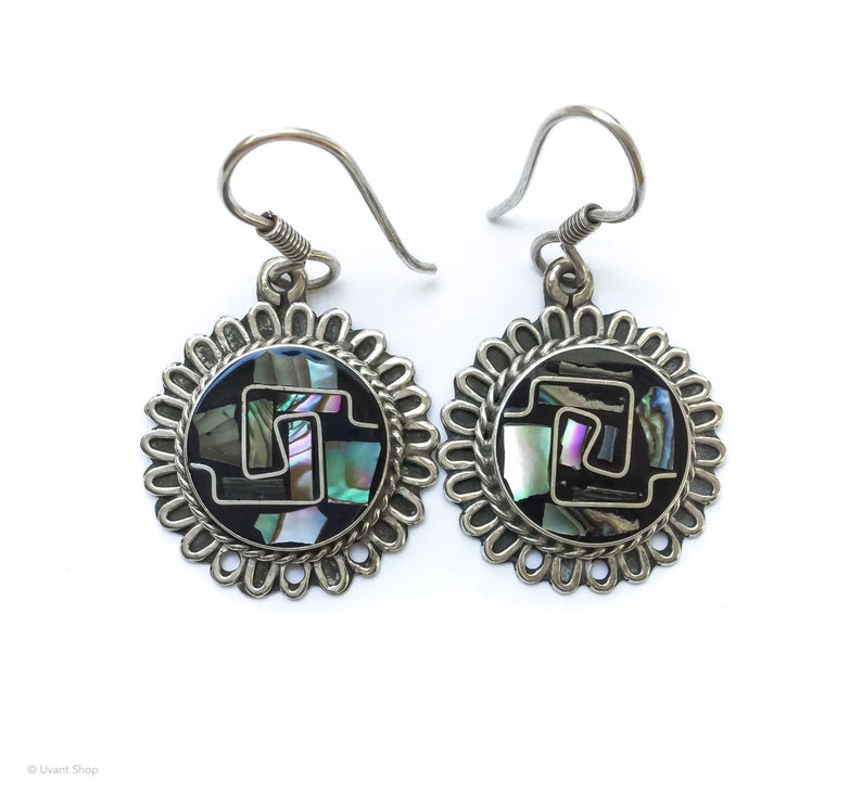 Silver Aztec Dangle Earrings  sterling silver psychedelic image 0