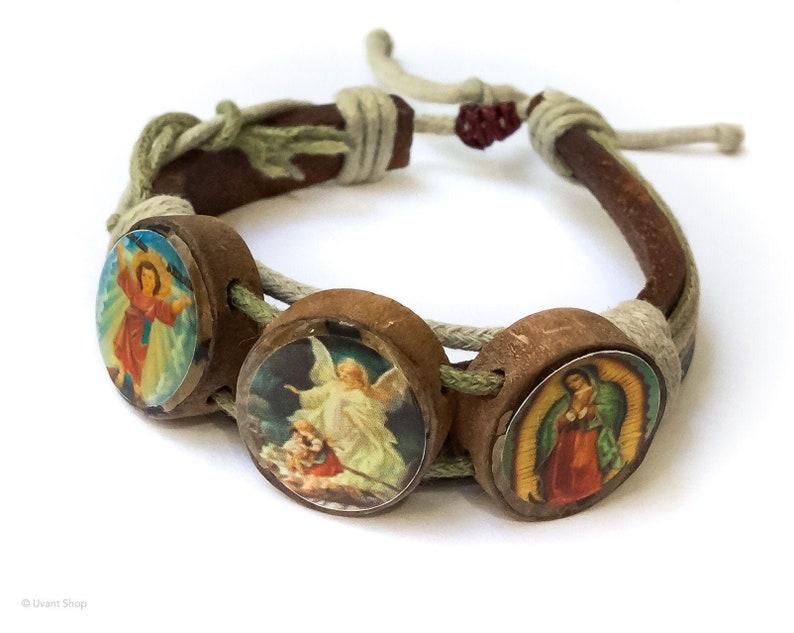 Angel Scenes Leather Bracelet XS to XL  spiritual jewelry image 0