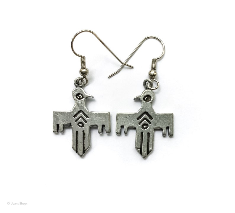Thunderbird Dangle Earrings  silver tone southwestern image 0