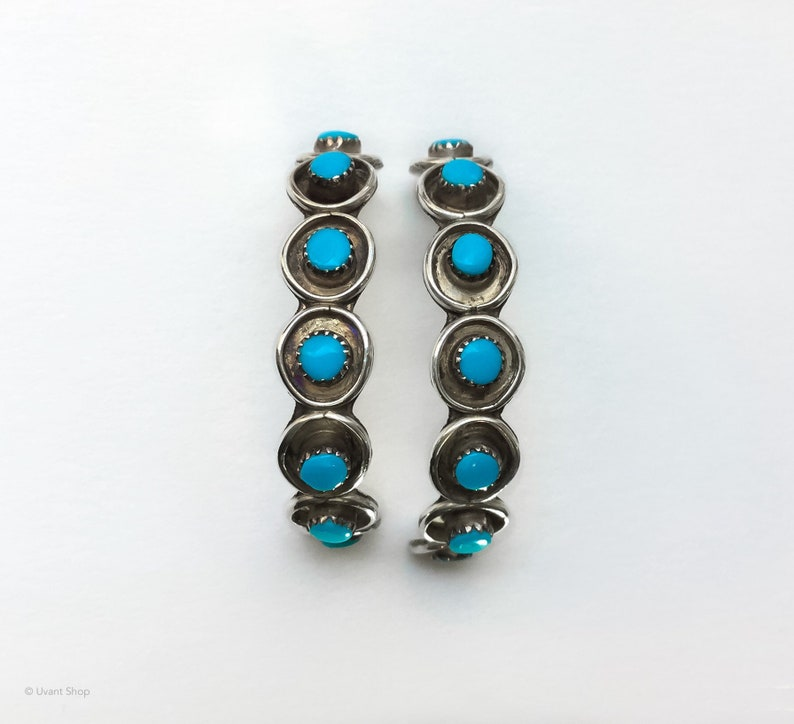 Turquoise Hoop Earrings Sterling Silver  vintage earrings 925 image 0