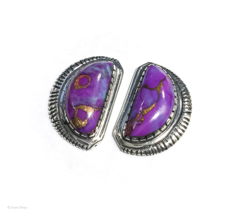 Charoite Stud Earrings sterling silver  purple stone image 0