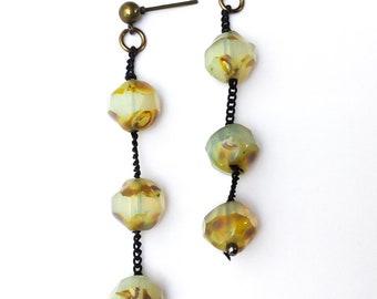 Crystal Moonglow Dangle Earrings - opalescent earrings, edgy earrings, matte black chain, unusual earrings