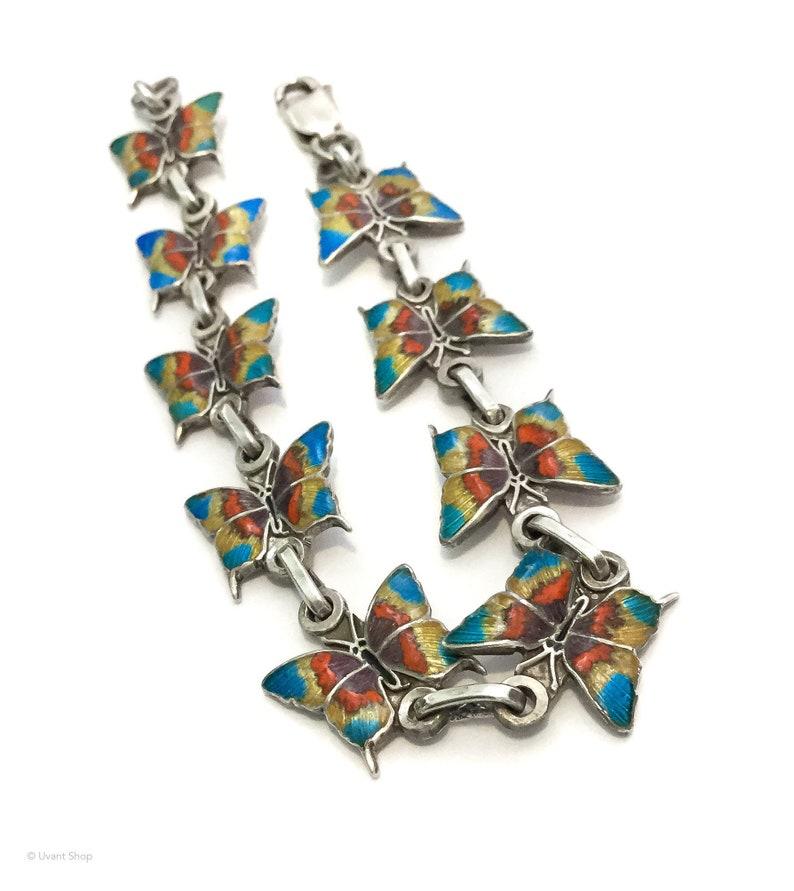 Aqua Butterfly Chain Bracelet 980 silver  980 Taxco bracelet image 0