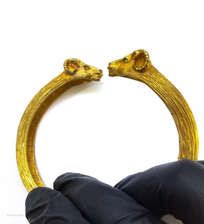 Double Rams Head Bracelet gold tone  baphomet jewelry image 0