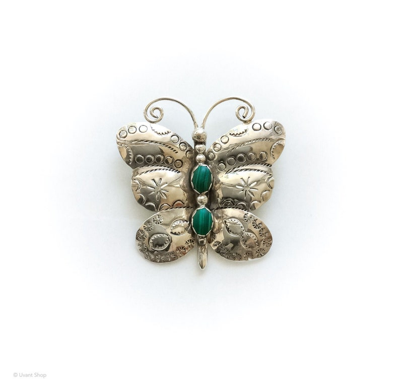 Stone Butterfly Brooch Sterling Silver  vintage taxco image 0