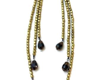 Extra Long Black Gold Earrings ON SALE - matte gold earrings, long black earrings, multistrand earrings, black and gold earrings