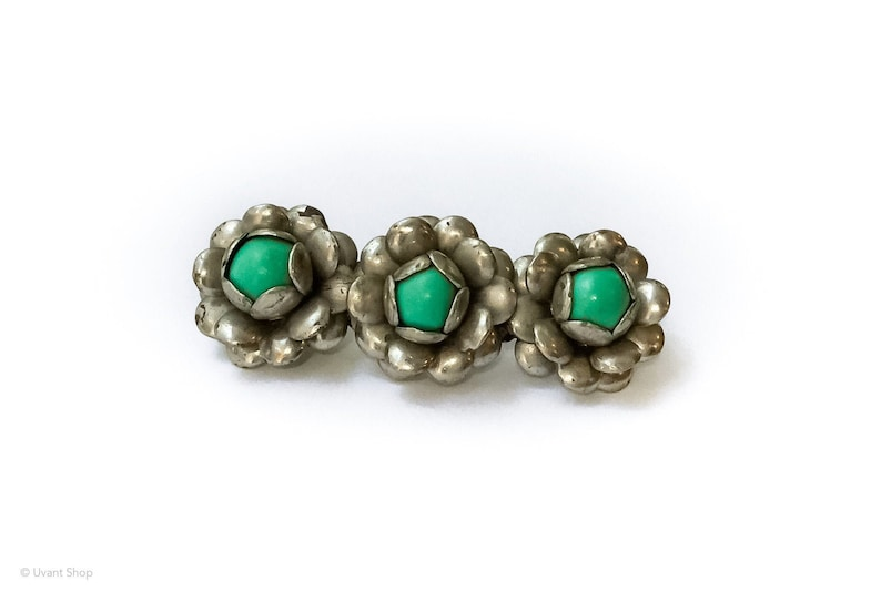Green Turquoise Flower Brooch  vintage mexico brooch 1970s image 0