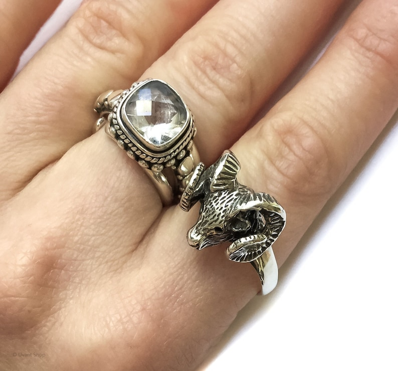 Sterling Baphomet Ring size 9  sterling silver ram's head image 0