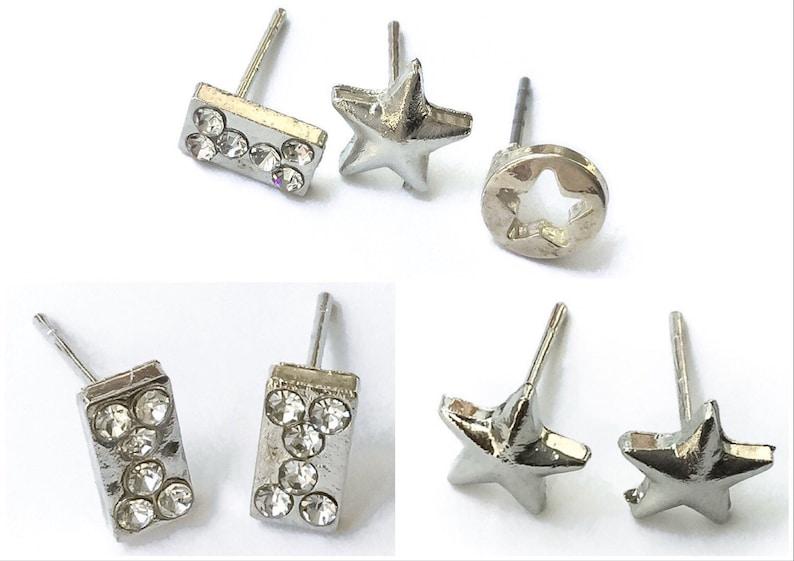3 Small Silver tone Stud Earrings  small stud earrings set image 0