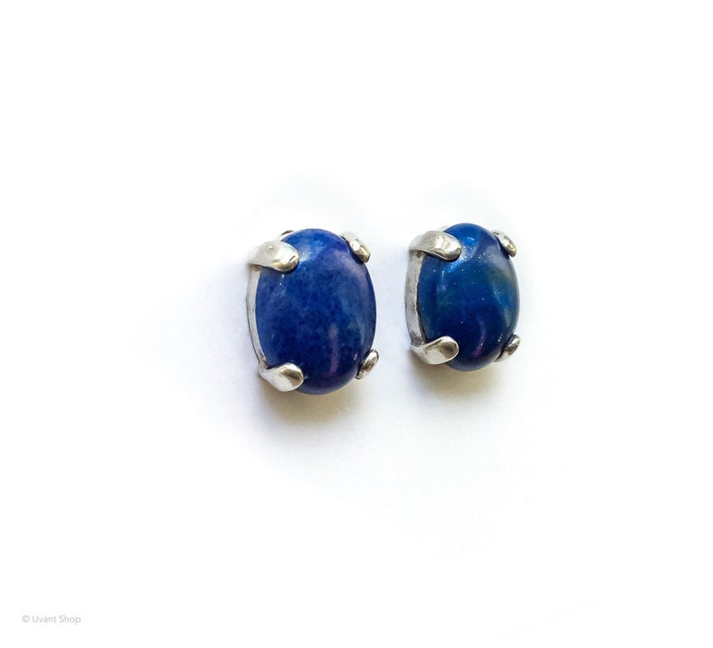 Tiny Lapis Lazuli Post Earrings sterling silver  small lapis image 0