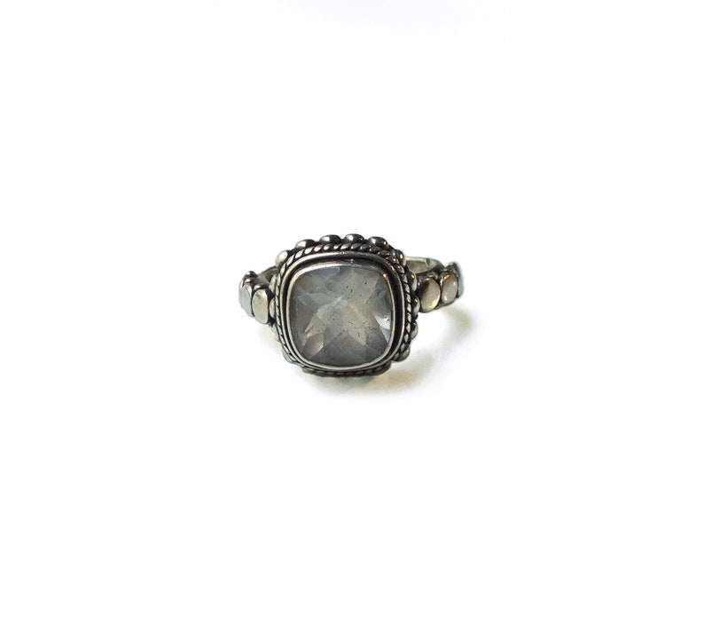 Native American Sterling Silver Zuni Baby Blue Opal  Inlay Ring Size 8.5