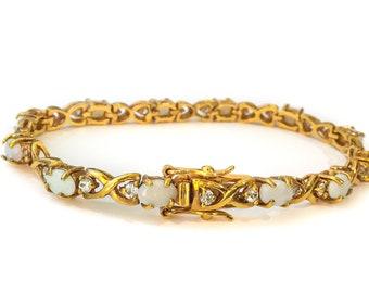 Vermeil Opal Bracelet - art deco bracelets, gold opal jewelry, vintage opal bracelet, opal chain bracelet, multistone tennis bracelet