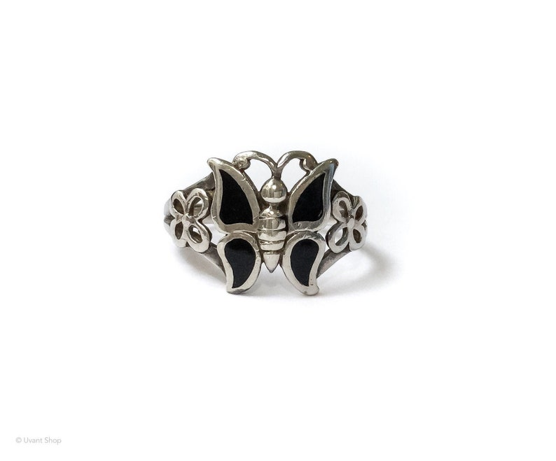 Black Butterfly Ring size 6.5 sterling silver  silver image 0