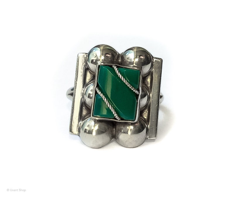 Sterling Silver Malachite Ring size 5.75  vintage mexico image 0