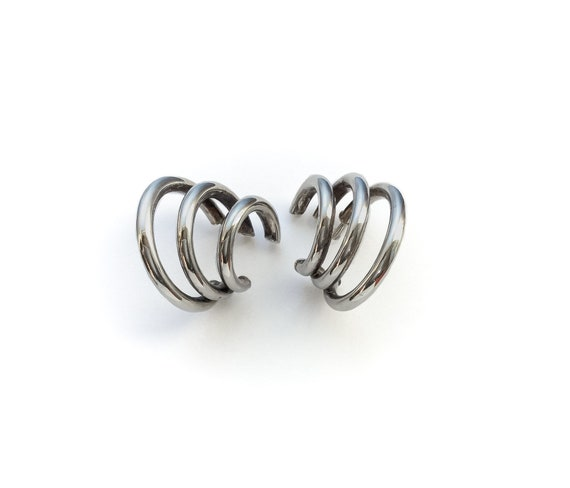 Silver Triple Moon Dangle Earrings - vintage sterl