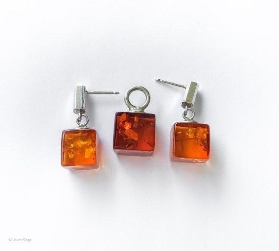 Precious Modernist amber Handmade Gemstone Jewellery earrings HE4