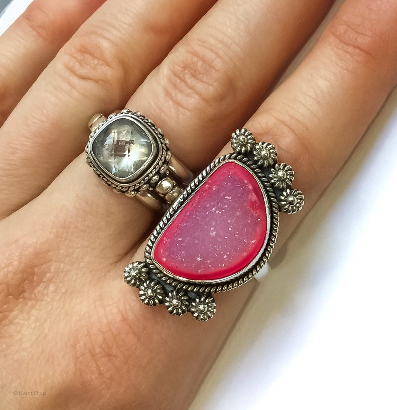 Pink Druzy Sterling Silver Ring size 6  large druzy rings 6 image 0