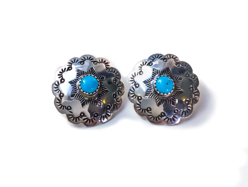 4a7920217 Sterling Silver Turquoise Concho Earrings vintage turquoise   Etsy