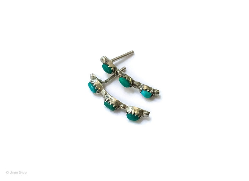 Tiny Turquoise Drop Earrings  small stone post earrings drop image 0