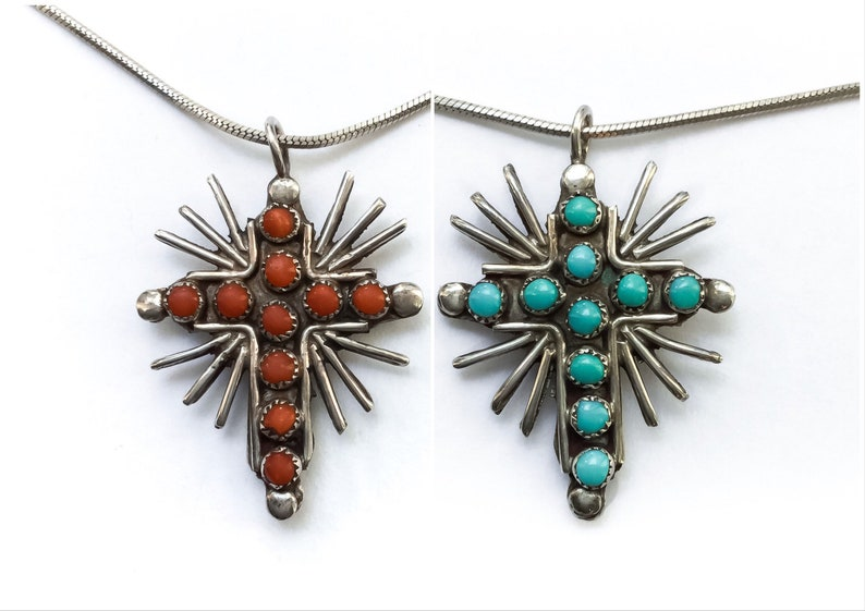 Reversible Coral/Turquoise Cross Pendant Necklace  turquoise image 0