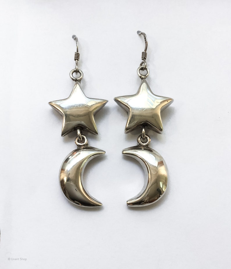 Large Sterling Silver Night Sky Earrings  large crescent moon image 0