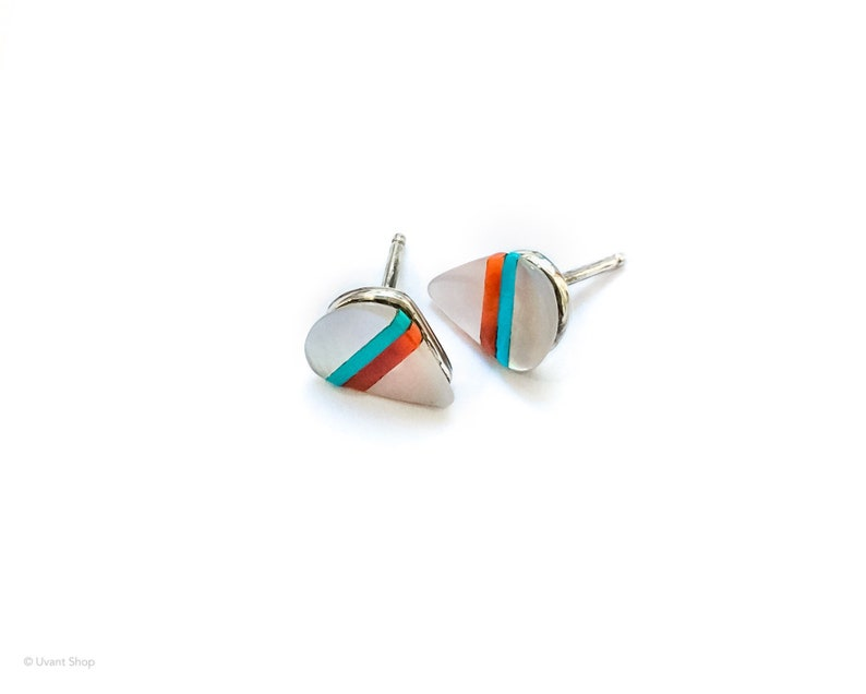 Small Iridescent Stone Post Earrings sterling silver  tiny image 0
