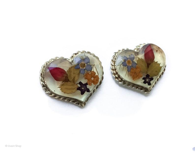 Real Flowers Earrings Sterling Silver  heart post earrings image 0