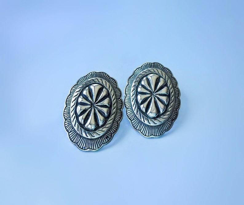Sterling Silver Flower Concho Black Onyx Post Stud Earrings