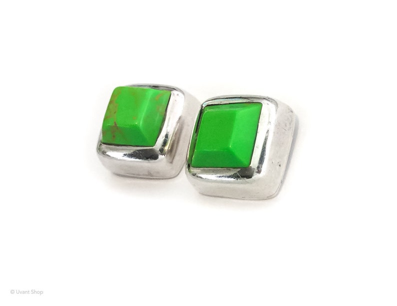 Lime Green Turquoise Post Earrings sterling silver  square image 0