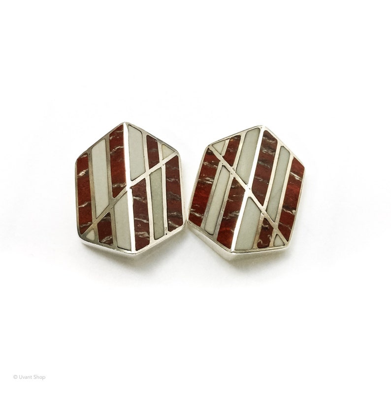 Chip Stone Inlay Square Shaped Dangle Earrings