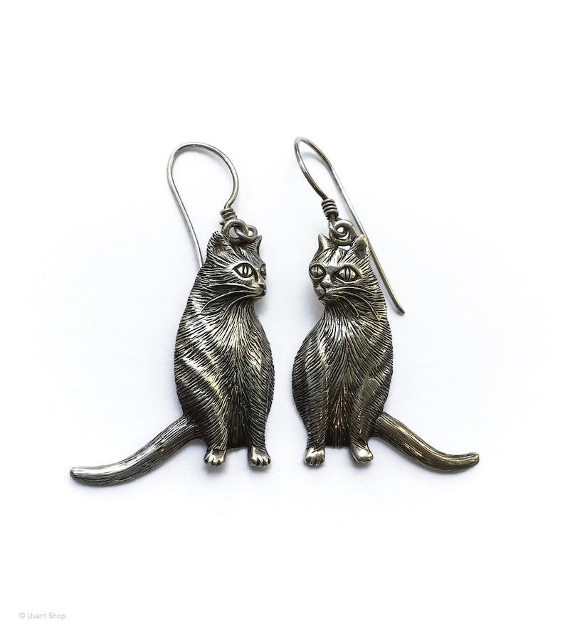 Sterling Silver Cat Dangle Earrings  detailed cat earrings image 0