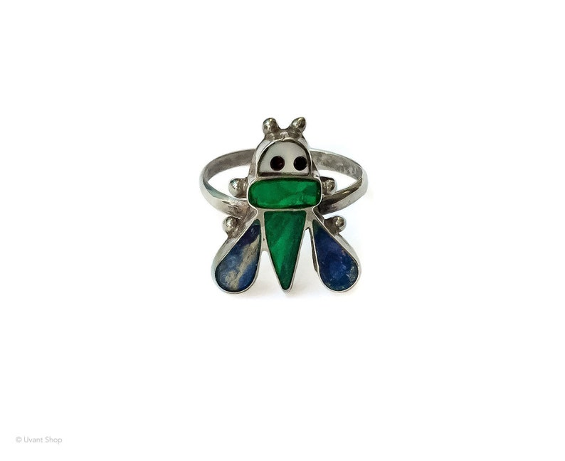 Zuni Bee Ring size 4.5  sterling silver bumblebee ring image 0