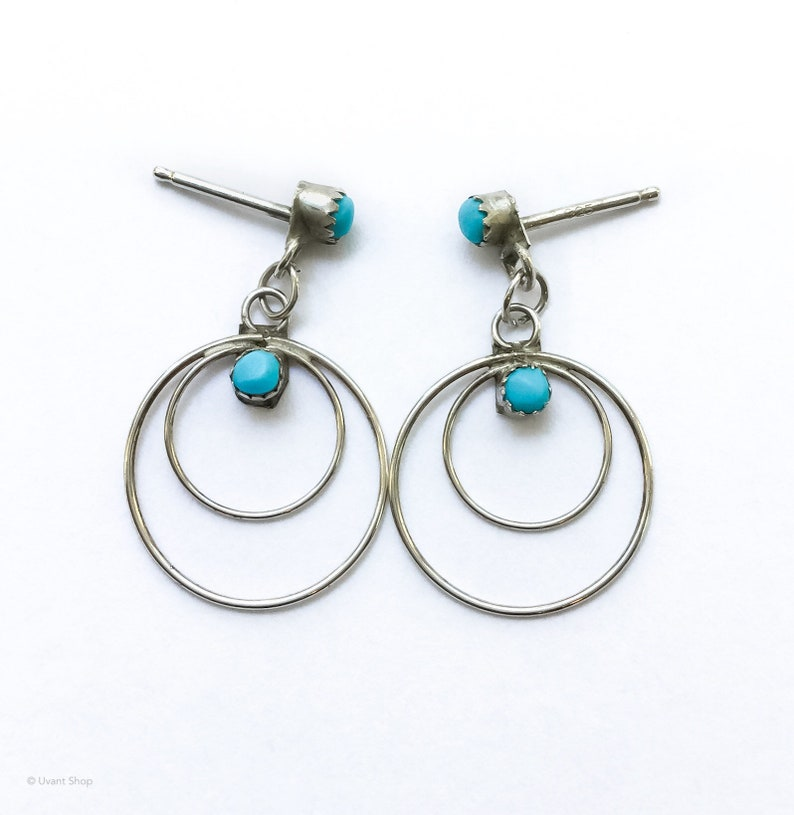 Silver Blue Turquoise Dangle Earrings  Zuni jewelry blue image 0