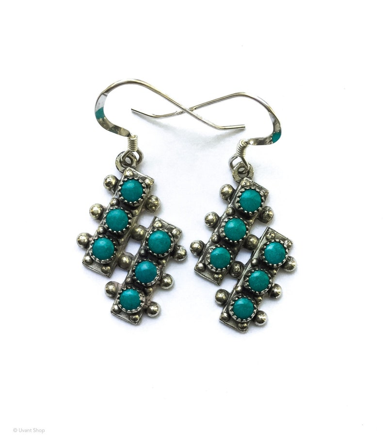 Unique Turquoise Earrings Sterling Silver  native American image 0