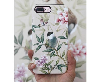 Hard case phone protector for iPhone and Samsung, Chinoiserie style phone case, Vintage bird and flowers phone accessory, Gifts for her