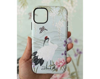 Luxury iPhone and Samsung case, Hard phone protector, Chinoiserie bird and peony phone accessory, Gifts for her