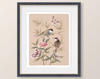 """Chinoiserie wall art, Birds and peonies print, Modern Japanese style art, """"Bonnie"""", Gifts for her"""