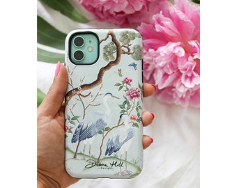 Chinoiserie phone cover, Chinese style birds and tree design, Hard case phone protector for iPhone and Android, Gifts for her